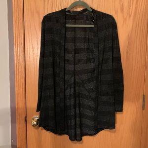 Black Silver Stripped Cardigan Medium Long